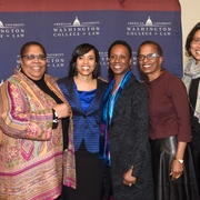 Office of Diversity Services Director Sherry Weaver, State's Attorney Angela Alsobrooks, Dean Camille Nelson, Prof. Angela Davis, and Prof. Lia Epperson.