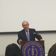 Dean Claudio Grossman opens the event