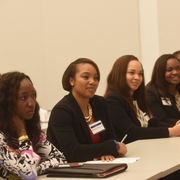Students and alumni during the panel discussion