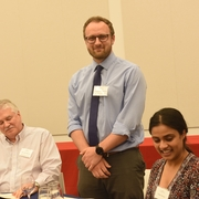 Professor Rick Wilson, Chris Keeler '16 recipient of the Pro Bono Excellence Award, and fellow 3L Asma Kadri